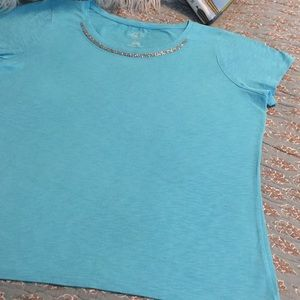 St. John's Bay knit top size Large with beads🍀